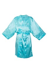 Women's Cathy's Concepts Satin Robe Aqua M