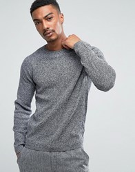 Selected Homme Crew Neck Knit In Twisted Yarn Caviar Bright White Grey