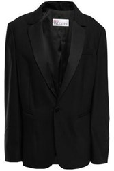 Red Valentino Redvalentino Woman Satin Trimmed Wool Blend Crepe Blazer Black