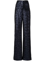 Roland Mouret Sequin Embroidered Trousers Blue