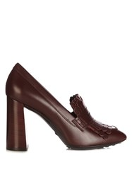 Tod's Gomma Fringed Leather Pumps Burgundy