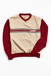 Urban Outfitters Vintage Wilson Colorblocked Crew Neck Sweatshirt Red