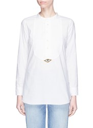 Figue 'Evil Eye Tux' Beaded Patch Cotton Shirt White