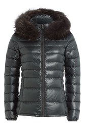 Duvetica Down Jacket With Fur Trimmed Hood Grey