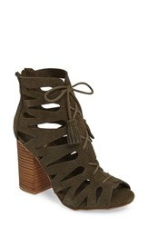 Mia Women's Cara Lace Up Gladiator Bootie Green Suede