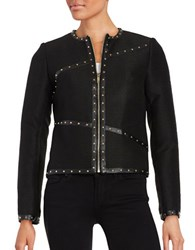 Karl Lagerfeld Studded Faux Leather Trimmed Blazer Black