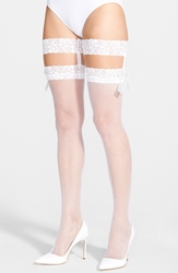 Betsey Johnson Fishnet Thigh High Tights With Lace Garters White
