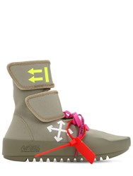 Off White 30Mm Moto Wrap Neoprene Sneakers Khaki