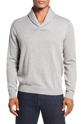 Nordstrom Men's Big And Tall Men's Shop Cotton And Cashmere Shawl Collar Sweater Grey Heather