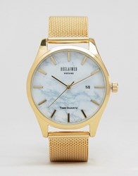 Reclaimed Vintage Marble Mesh Watch In Gold Gold