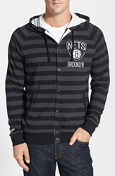 Mitchell And Ness 'Brooklyn Nets' Stripe Button Front Jersey Hoodie Black