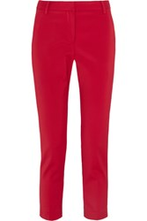 Tibi Beatle Cropped Stretch Faille Tapered Pants Us12
