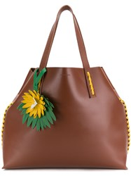 P.A.R.O.S.H. Side Embellished Tote Bag Brown