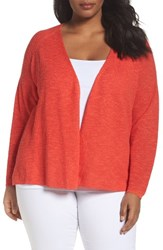 Eileen Fisher Plus Size Women's Organic Linen And Cotton Cardigan Geranium