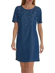 Betty And Co. Pearl Embellished Dress Blue Denim