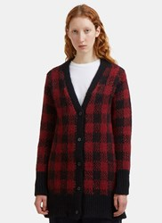 Marni Checked Jacquard Alpaca Knit Cardigan Burgundy