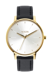 Nixon 'The Kensington' Leather Strap Watch 37Mm Gold White Black