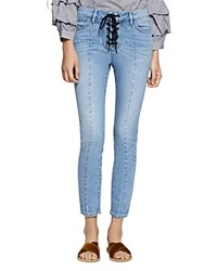 Sanctuary Robbie Lace Up Cropped Jeans In Evelyn Evelyn Wash