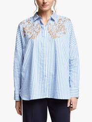 Marella Stripe Embroidered Shirt Light Blue
