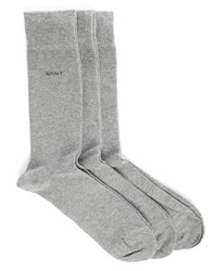 Gant 3 Pair Pack Of Grey Socks
