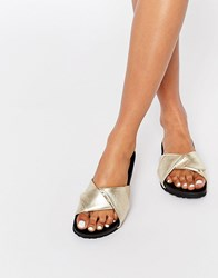 Pieces Pscindy Leather Flat Sandals Gold