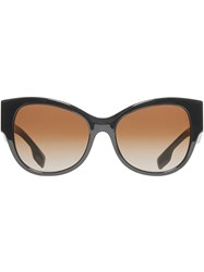Burberry Monogram Detail Butterfly Frame Sunglasses Black