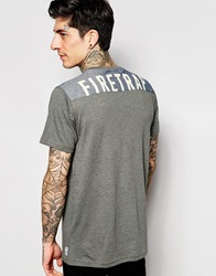 Firetrap Denim Logo Back T Shirt Grey