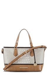 Brahmin Mini Asher Embossed Leather Tote White Coconut