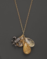Bloomingdale's Rutilated Quartz Charm Necklace 17 Yellow Gold
