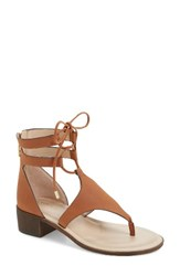 Charles By Charles David Women's Chessa Lace Up Sandal Camel Faux Nubuck