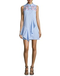 Peter Pilotto Embroidered Asymmetric Sleeveless Shirtdress Sky Blue