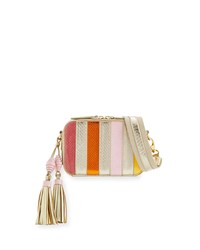 Rafe Sophie Snakeskin Camera Crossbody Bag Pink