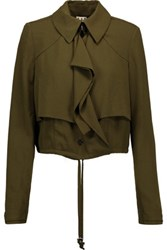 Haute Hippie Cropped Cady Jacket Army Green