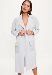 Missguided Grey Chiffon Patch Pocket Woven Duster Jacket