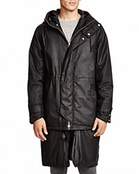 Chapter Agoto Waxed Cotton Hooded Coat Black