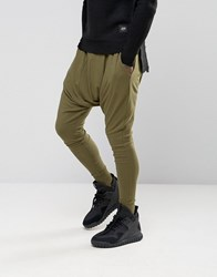 Sixth June Slouchy Skinny Joggers With Drop Crotch Khaki Green