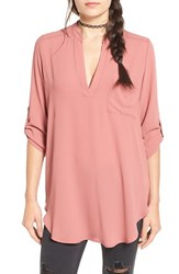 Lush Women's 'Perfect' Roll Tab Sleeve Tunic Withered Rose