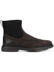Hogan Contrast Ankle Boots Brown