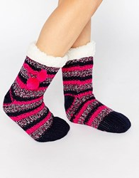 Totes Chunky Socks In Stripe Space Dye Pink Multi