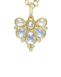 Temple St. Clair 18K Yellow Gold Wing Pendant With Royal Blue Moonstone And Diamonds Blue Yellow