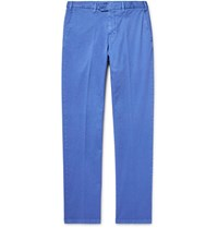 Cordings Slim Fit Stretch Cotton Gabardine Trousers Blue