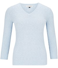 Austin Reed Pale Blue V Neck Cable Knit Jumper