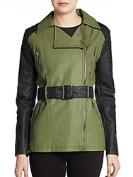 Romeo And Juliet Couture Faux Leather Two Tone Jacket Olive