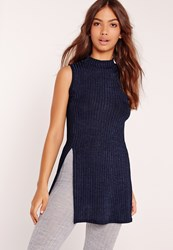 Missguided High Neck Sheen Rib Tunic Navy Blue