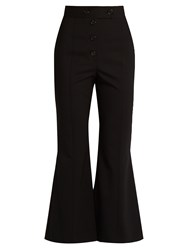 Proenza Schouler High Rise Flared Stretch Wool Trousers Black