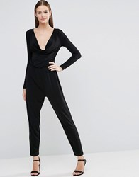 Asos Jersey Jumpsuit With Cowl Neck And Long Sleeves Black