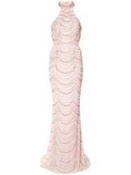 La Femme Beaded Fitted Gown Pink And Purple
