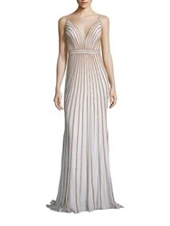 Jovani Prom Vertical Bead Embellished Gown White Gold