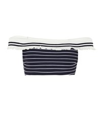 Jonathan Simkhai Off The Shoulder Striped Bikini Blue