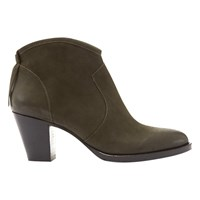 Mint Velvet Liza Tassel Ankle Boots Khaki Leather